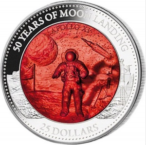 2019 Solomon Islands 25$ Mother of Pearl - 50 Years of Moon Landing