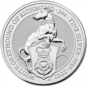 2021 Great Britain 5£ Queen's Beasts - White Greyhound Of Richmond