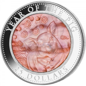 2019 Cook Islands 25$ Mother of Pearl - Year of the Pig